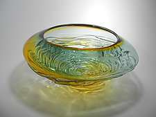 Ripple Wave Bowl in Steel Gray and Gold by Mariel Waddell and Alexi Hunter (Art Glass Bowl)