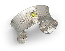 Rippled Cuff with Lemon Quartz by Nora Fischer (Silver & Stone Bracelet)