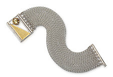Captured Triangle Chain Bracelet by Nora Fischer (Gold, Silver & Stone Bracelet)