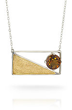 Captured Triangle Pendant by Nora Fischer (Gold, Silver & Stone Necklace)