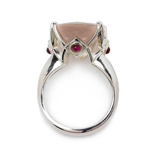 Cathedral Ring in Rose Quartz with Ruby