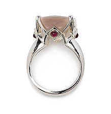Cathedral Ring in Rose Quartz with Ruby by Ellen Himic (Silver & Stone Ring)