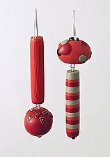 August Asymmetrical Dangles by Loretta Lam (Polymer Clay Earrings)