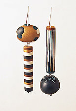 Navy Asymmetrical Dangles by Loretta Lam (Polymer Clay Earrings)