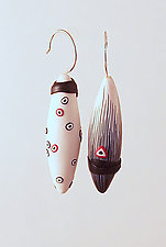 Black & White Asymmetrical Pods by Loretta Lam (Polymer Clay Earrings)