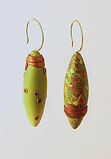 Green Asymmetrical Pods by Loretta Lam (Polymer Clay Earrings)
