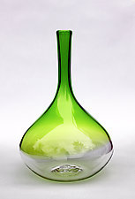 Color Dip Bottle in Green by Nanda Soderberg (Art Glass Vase)