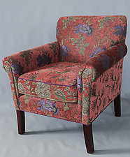 Ornate Salon Chair in Rust Lavender by Mary Lynn O'Shea (Upholstered Chair)