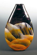 Amber, Black & White Teardrop Vase by Mark Rosenbaum (Art Glass Vase)