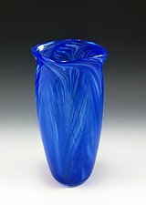 Blue Peacock Vase by Mark Rosenbaum (Art Glass Vase)