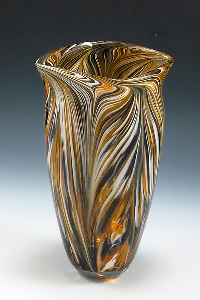Black Gold Peacock Vase By Mark Rosenbaum Art Glass Vase