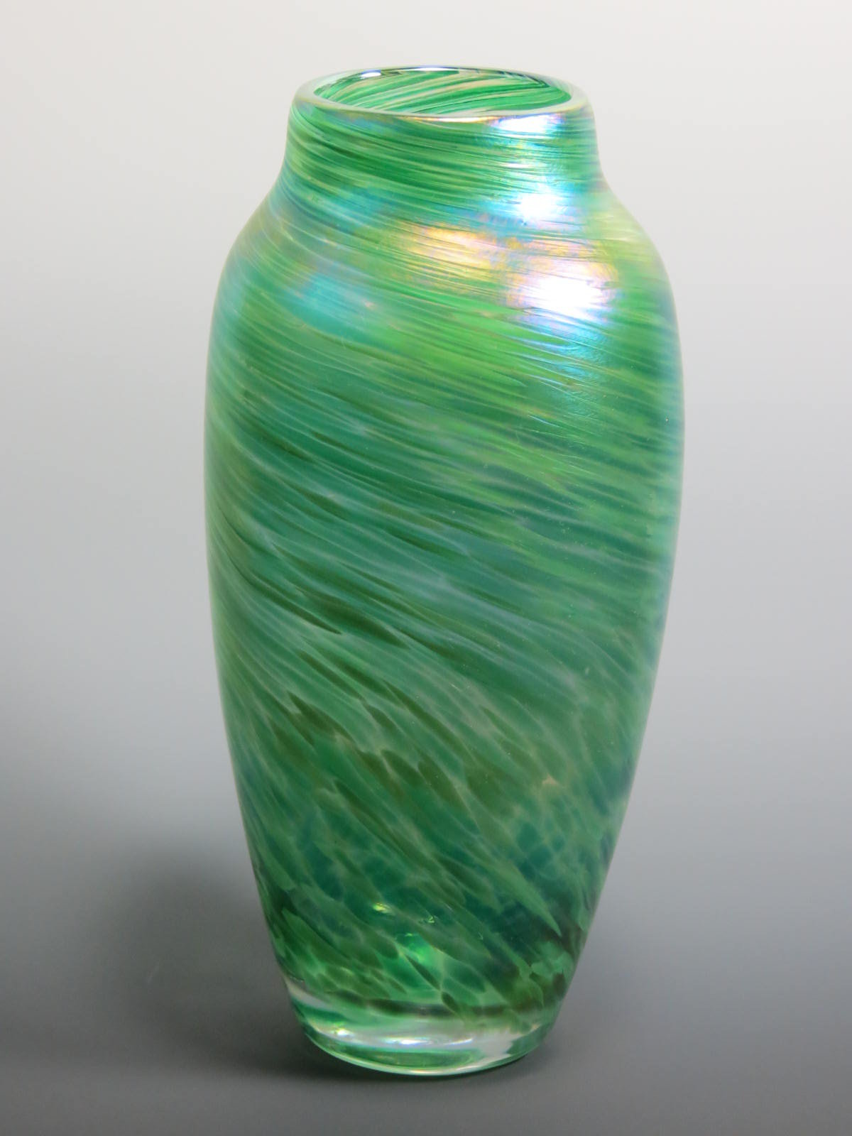 Green Spun Vase By Mark Rosenbaum Art Glass Vase