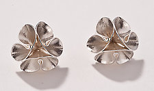 Folded Leaf Flower Stud Earrings by Sadie Wang (Silver Earrings)