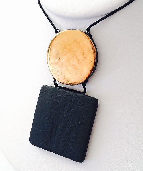 Square and Disc Pendant Necklace