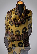 Chartreuse Silk Shibori Wrap by Suzanne Bates (Silk Scarf)