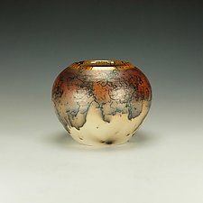 Horse Hair Raku Vessel with Terra Sigilatta by Lance Timco (Ceramic Vessel)