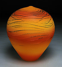 Red and Orange Topography by Nicholas Bernard (Ceramic Vessel)