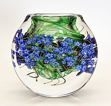 Forget-Me-Nots Cased Vase by Shawn Messenger (Art Glass Vase)