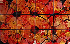 12 Panel Fugue in Autumn by Cynthia Miller (Art Glass Wall Sculpture)