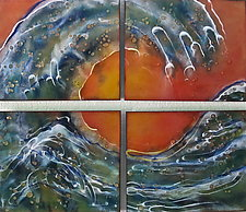 The Waves Quartet by Cynthia Miller (Art Glass Wall Sculpture)