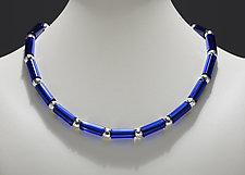 Cobalt Tube Bead Necklace by Eloise Cotton (Art Glass Necklace)