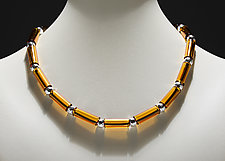 Amber Tube Bed Necklace by Eloise Cotton (Art Glass Necklace)