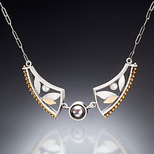 Mixed Metal Curve Necklace by Susan Kinzig (Gold, Silver, Stone & Pearl Necklace)