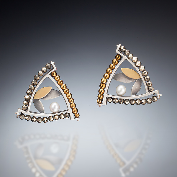 Mixed Metal Triangle Earrings