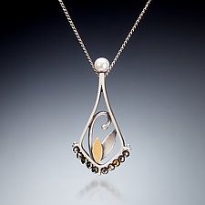 Mixed Metal Teardrop Necklace by Susan Kinzig (Gold, Silver, Stone & Pearl Necklace)