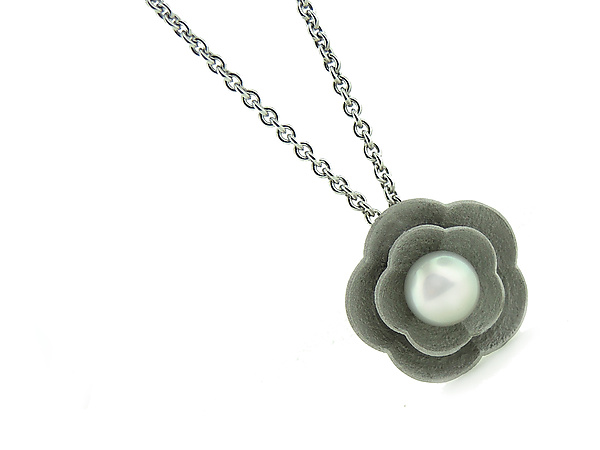 Cherry Blossom Pendant in Silver with Pearl