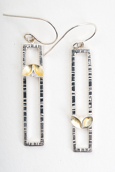 Folded Leaf Rectangle Earrings with Gold