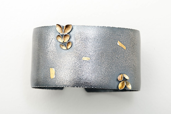 Folded 5 Leaf Asymmetrical Bangle
