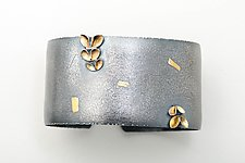 Folded 5 Leaf Asymmetrical Bangle by Sadie Wang (Gold & Silver Bracelet)