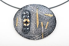 Folded Verticle Leaf Oval Neckpiece by Sadie Wang (Gold & Silver Necklace)
