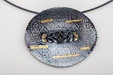Folded Horozontal Leaf Oval Neckpiece by Sadie Wang (Gold & Silver Necklace)
