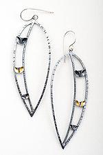 Hand Folded Leaf in Large Leaf Earrings by Sadie Wang (Gold & Silver Earrings)