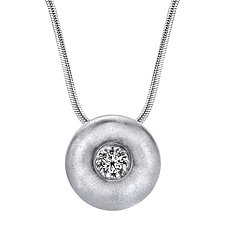Large Silver Sphere Power Pendant by Claudia Endler (Silver & Stone Necklace)