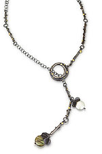 Twig Blossom Lariat by Christine MacKellar (Gold, Silver, Stone & Pearl Necklace)