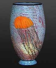 Pacific Coast Jellyfish Sapphire Footed Vase by Richard Satava (Art Glass Vase)