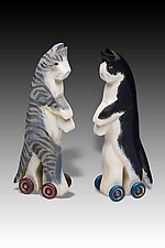 Upstanding Cats by Dona Dalton (Wood Sculpture)