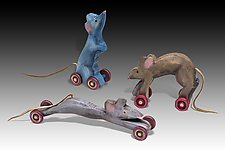 Mice Trio by Dona Dalton (Wood Sculpture)