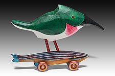 Texas Kingfisher Rides the Minnow by Dona Dalton (Wood Sculpture)