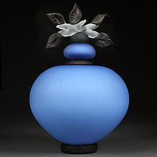 Novi Zivot (New Life) Satin Sapphire by Eric Bladholm (Art Glass Sculpture)