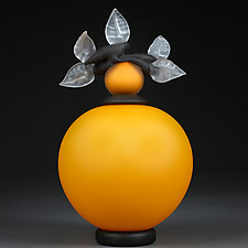 Novi Zivot (New Life) Satin Sunflower by Eric Bladholm (Glass Sculpture)