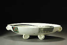 Boat in Black, Green & Gray by Michael  Kifer (Ceramic Bowl)