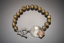 Pearl Bracelet with Silver and Mokume Clasp by Louise Norrell (Pearl, Silver & Copper Bracelet)