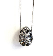 Grid Egg Pendant by Maria  Eife (Silver Necklace)
