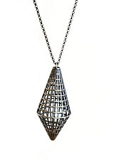 Grid Drop Pendant by Maria  Eife (Silver Necklace)