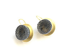 Gold Whirlpool Drop Earrings White and Black by Michal Lando (Nylon Earrings)
