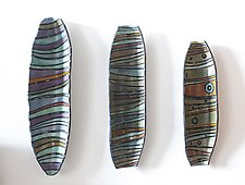 Carved Wall Stripes by Janine Sopp (Ceramic Wall Sculpture)